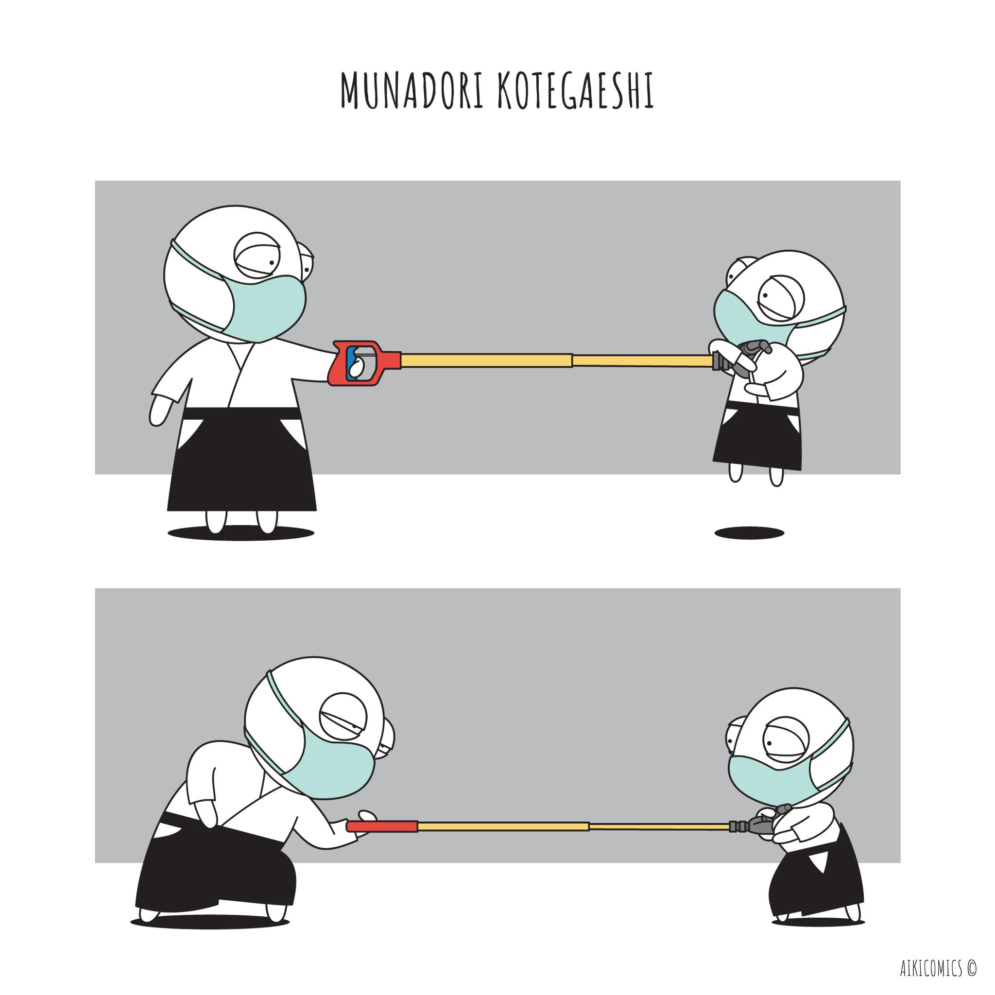 No-contact Kotegaeshi would work great from my no-contact Munadori… :)  #munadori #kotegaeshi #aikido #martialarts #comics #cartoon #humor #oritshilon #aikicomics #selfdefense https://t.co/IYTMbyJjSg