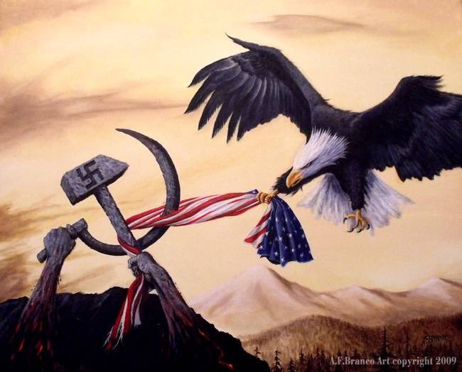 I painted this back in 2009 to illustrate what I could see happening to America. It's called Freedom's Battle. #Antifia #BlackLivesMatter #BLM #CHOP #riots #LawAndOrder #Marxism #CulturalRevolution