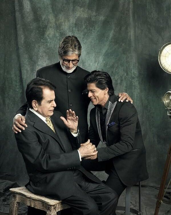 Three generations, three legends! Here's a picture from our epic photoshoot with #DilipKumar, #AmitabhBachchan and #ShahRukhKhan.