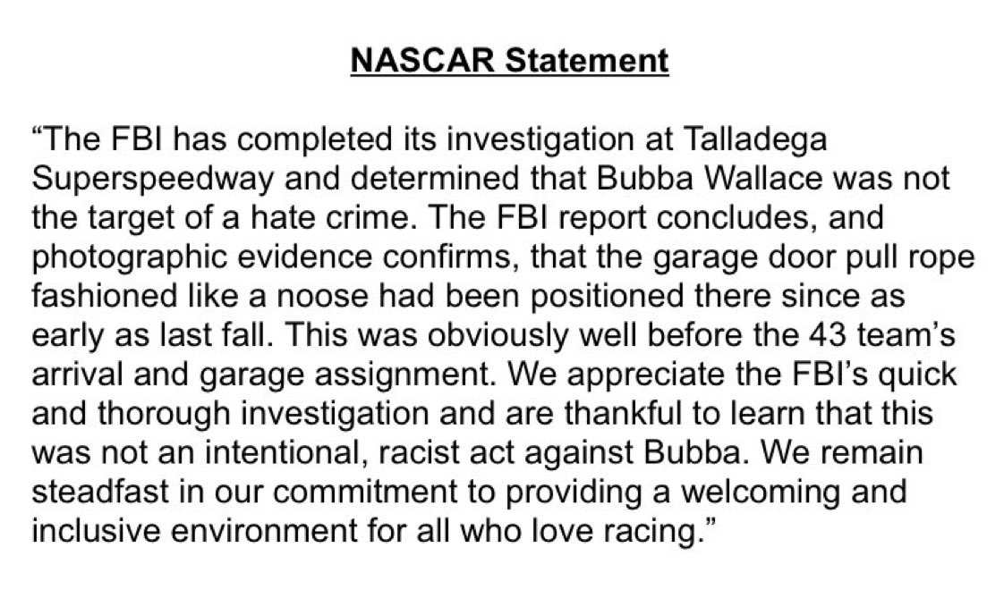 """Here's NASCAR's statement. No explanation as to why they immediately contacted the FBI rather than just going to the garage and seeing that it was a rope for the door and saying """"hey it's just a rope for the door."""""""