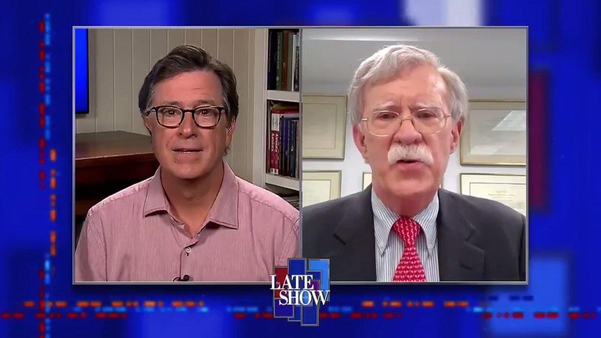 TONIGHT, in a late night TV exclusive, @StephenAtHome interviews Former National Security Advisor @AmbJohnBolton in a wide ranging interview about his time in the Trump Administration and why, despite voting for him in 2016, the President won't be getting his vote in 2020. #LSSC