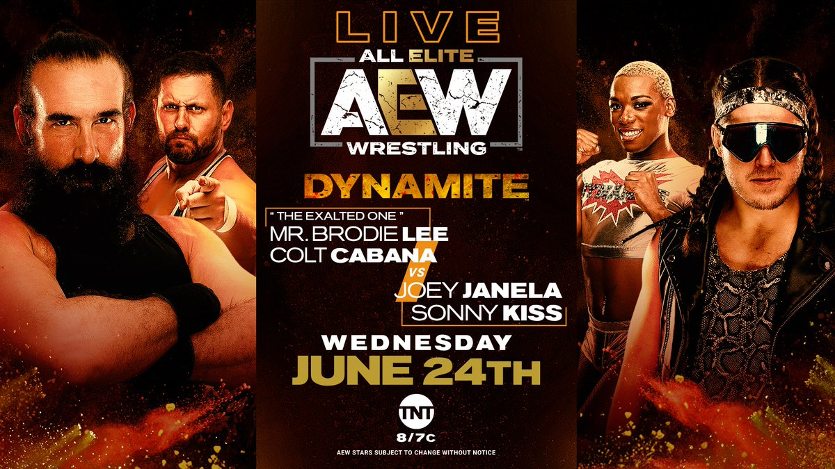 Tonight Mr. @ThisBrodieLee will show @ColtCabana the power and greatness that is the Dark Order. Watch it for yourselves tonight live on #AEWDynamite on TNT at 8pm  #JoinDarkOrder