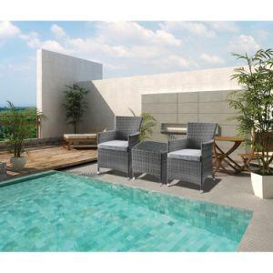 Patio Bistro Set (3Pc) in Gray Fabric & Gray Wicker Order product here:...