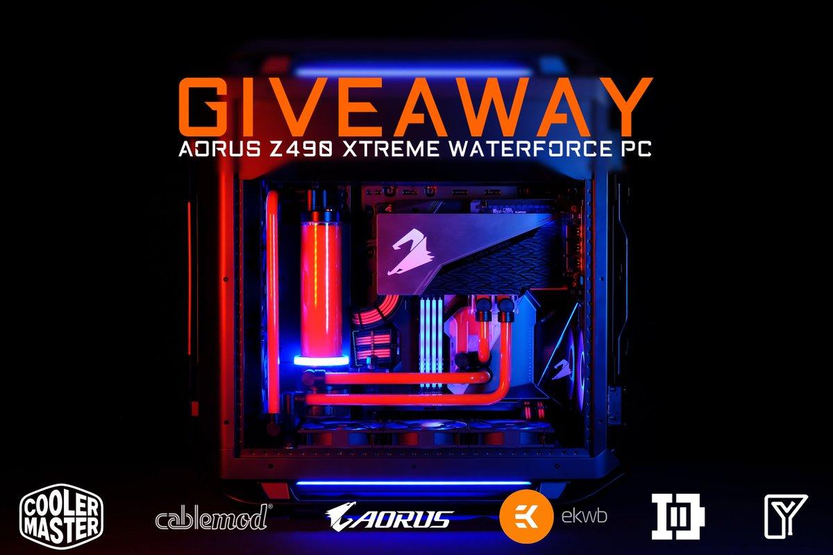 🎁 [#Giveaway] 🎁  😍 Venez gagner un PC #AORUS dernière génération en #Z490 et full watercooling !   Le PC ➡️    ➡️   #TeamUpFightOn #SoarToNewHeights