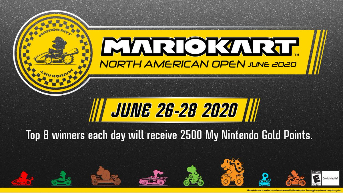 Rev up your #NintendoSwitch, it's almost time for tomorrow's #MarioKart8Deluxe North American Open June 2020! Enter the codes below on each day from 12pm PT to 6pm PT to get racing!   6/26: 3557-8041-7067 6/27: 2245-4903-3515 6/28: 5188-8851-1019