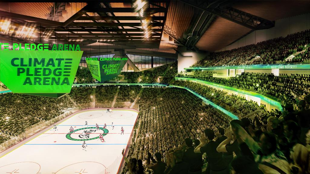 .@ClimateArena from Amazon, Oak View Group & NHL Seattle will include:  💧 Greenest ice in the NHL using rainwater 🌽 75% of food sourced locally from farmers & producers 🚎 NHL Seattle & WNBA tickets double as free public transit passes    #ClimatePledge