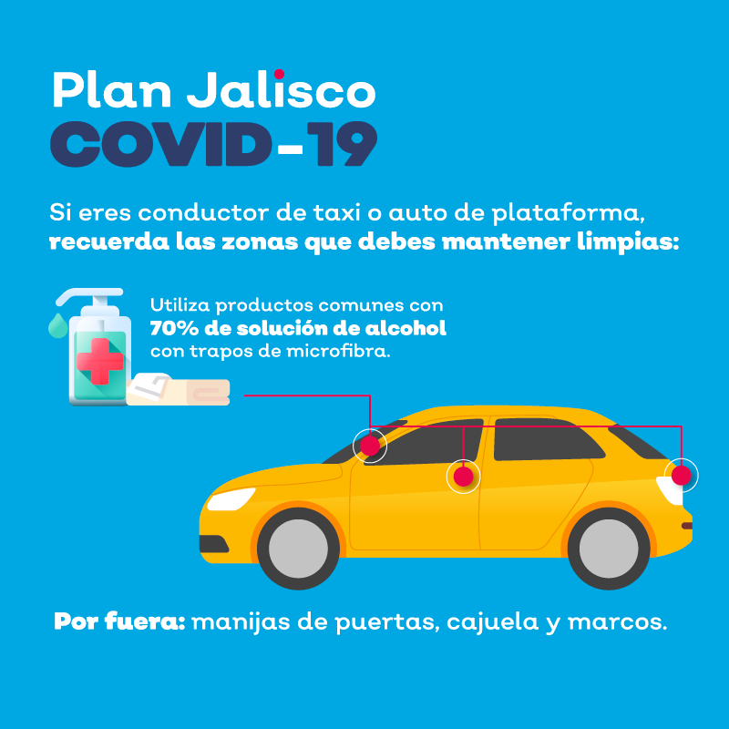 Como conductor de taxi o de ERT, es importante que limpies frecuentemente tu vehículo y que tú y los pasajeros utilicen cubrebocas durante todo el recorrido.  Recuerda que si te cuidas tú, nos cuidas a todos.