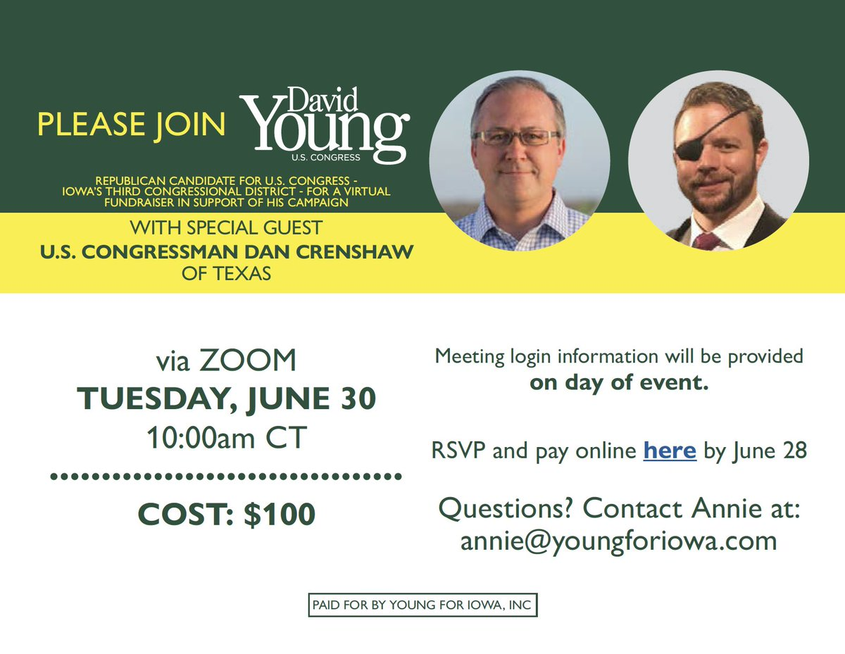 I'm excited to be joined by @DanCrenshawTX for a virtual fundraiser next Tuesday! See the details below and RSVP at the link: