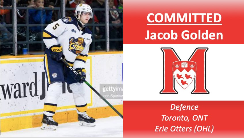 Welcome to McGill Hockey Jacob Golden! A graduate of the Erie Otters (@ErieOtters) and London Knights (@LondonKnights). Jacob was the recipient of the Roger Neilson Memorial Award as the OHL (@OHLHockey) top academic post-secondary student and is an NHL draft pick #McGillWill https://t.co/tYkLFk0F9F