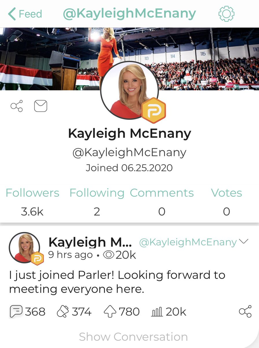 Sick and tired of social media censoring conservatives. I've had ENOUGH!  Just joined @parler_app. Inspired by @RepMattGaetz's tweet to join! Well done @dbongino. Follow me @kayleighmcenany ⬇️