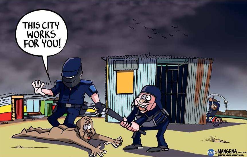 Today's cartoon by @Mangenatoons #CityofCapeTown #CapeTown #Khayelitsha #LawEnforcement #officers #BulelaniQolani #infomalsettlement #dignity #eviction #naked #westerncape