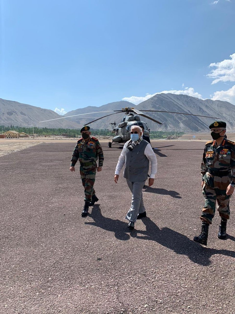 Leading from the front.  Prime Minister Shri @NarendraModi Ji with our brave and courageous personnel of Army, Air Force & ITBP at a forward location in Ladakh.  This visit of honourable PM will surely boost the morale of our valorous soldiers. #ModiInLeh