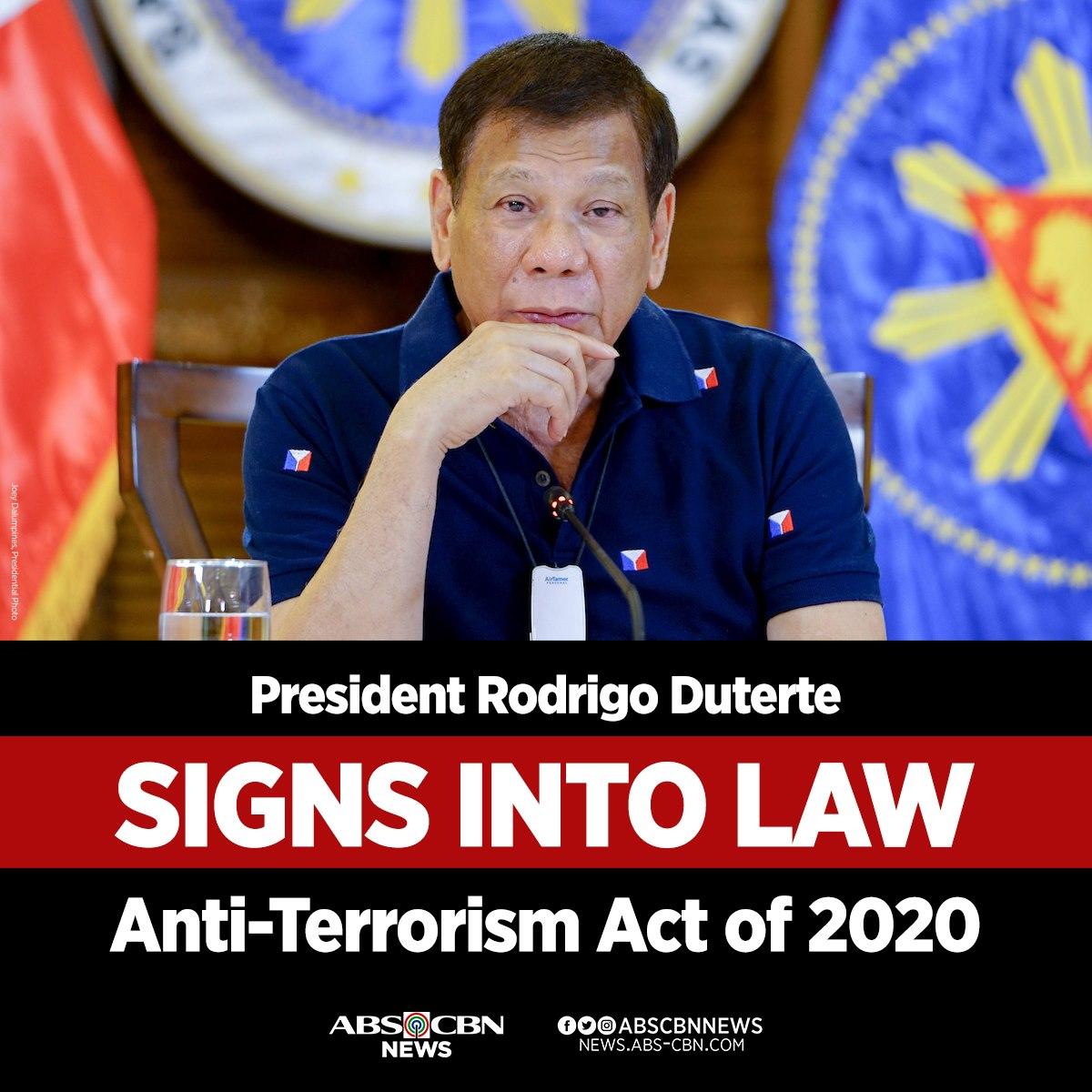 JUST IN: President Duterte has signed into law the Anti-Terrorism Act of 2020. | via @joycebalancio
