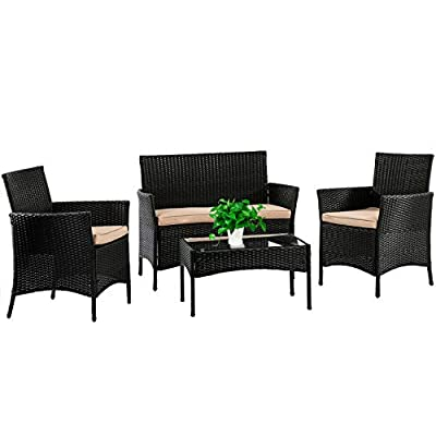 Patio Furniture Set 4 Piece Outdoor Wicker Sofas Rattan Chair Wicker...