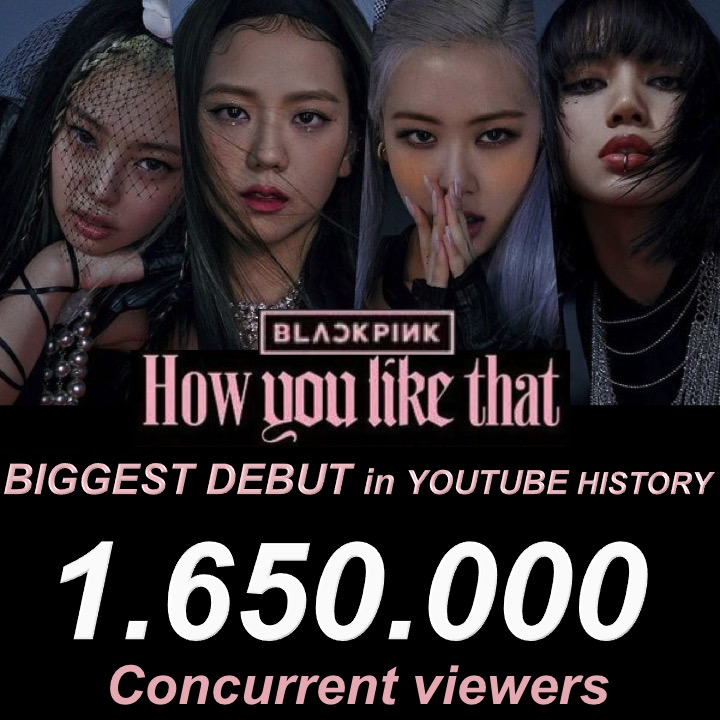 #BLACKPINK's #HowYouLikeThat scores Biggest Premiere in #YouTube History with 1.65 Million concurrent viewers!👊💃💃💃💃🎥🥇💥🌎1️⃣.6️⃣5️⃣Ⓜ️👑 @ygofficialblink