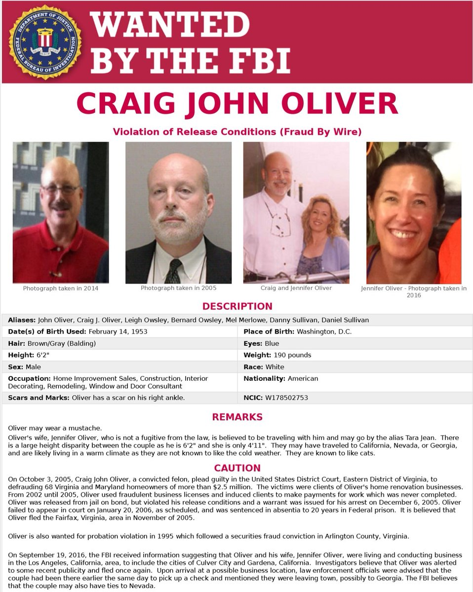 Craig John Oliver is #wanted for defrauding 68 Virginia and Maryland homeowners of more than $2.5 million; he plead guilty in 2005. If you have info on his whereabouts, please contact the #FBI. #FugitiveFriday