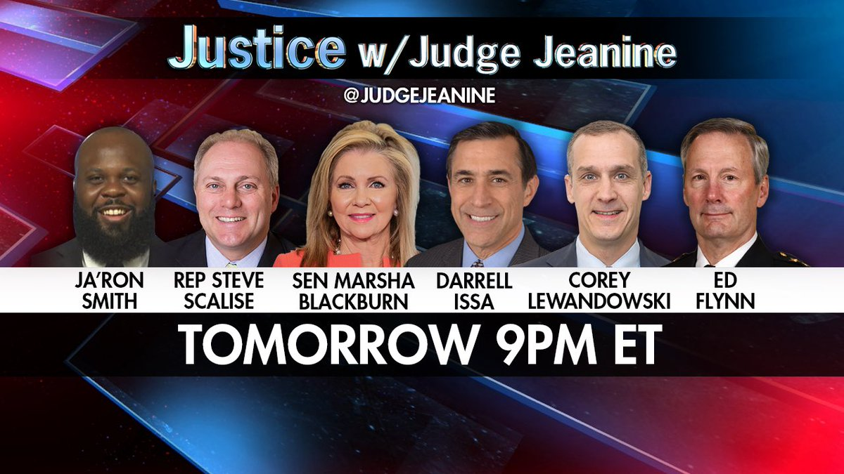 Be sure to tune into 'Justice' tomorrow night at 9pm ET! @JaRonSmith45 @SteveScalise @MarshaBlackburn @DarrellIssa @CLewandowski_ and Ed Flynn will be on! You won't want to miss it, it's going to be a great show!