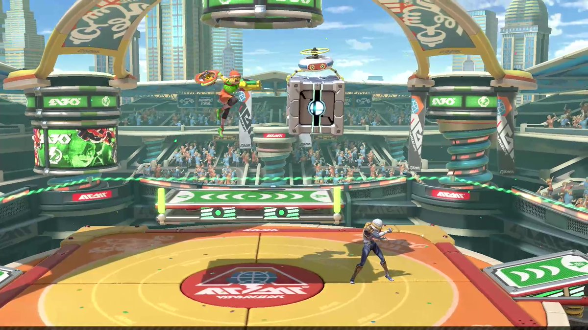 Min Min's #SmashBrosUltimate stage is Spring Stadium, a place familiar to all #ARMS fighters! It features jumping platforms that appear on both sides. Jump while standing on them and you'll spring high into the air. Make contact while jumping and it'll deal damage!