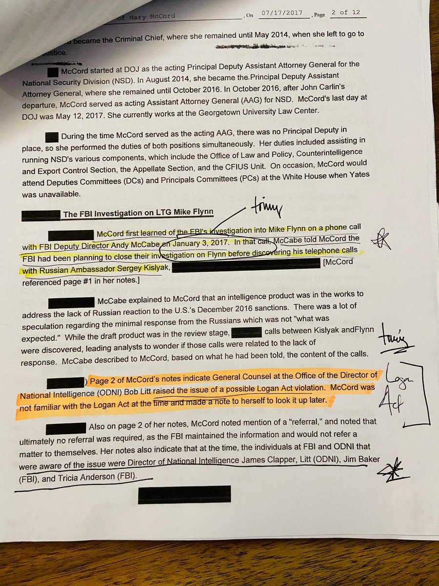 #FLYNN In FBI interview, senior DOJ official Mary McCord said McCabe told her about Flynn-Kislyak calls January 3rd, 2017 (1 day BEFORE Strzok notes) McCord notes indicate DNI lawyer also raised Logan Act about the same time + small group w/visibility including Clapper @CBSNews