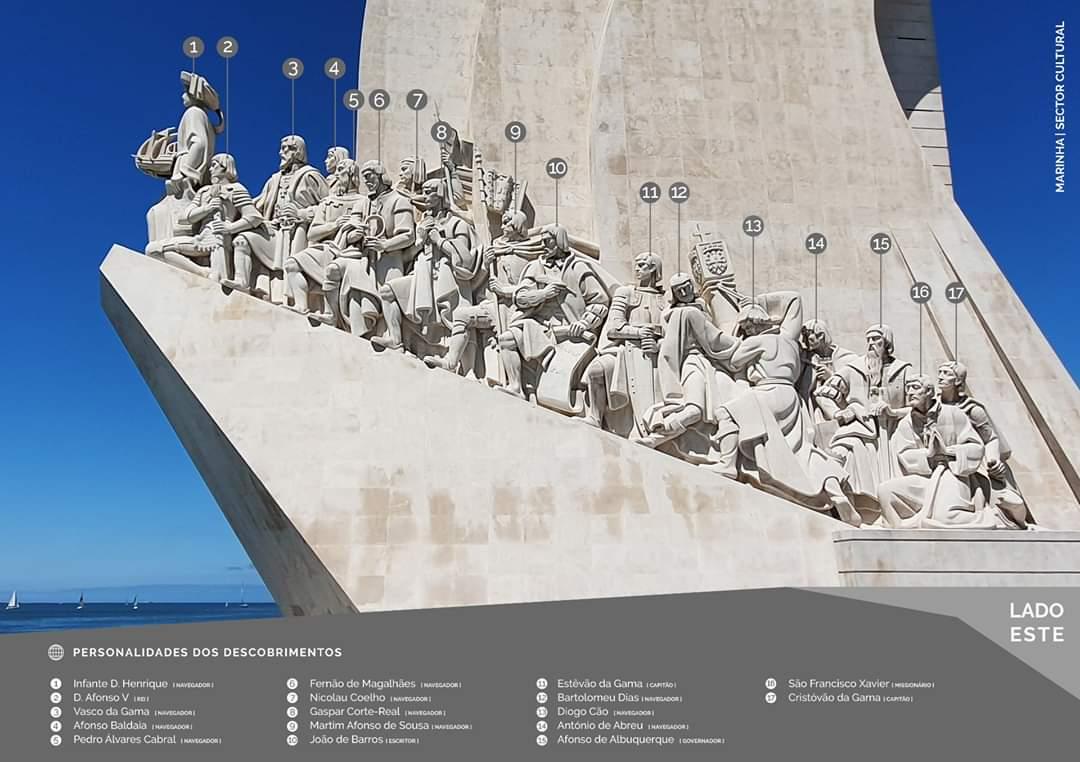 Heróis do mar   Conheça os nomes e as figuras que estão presentes no Padrão dos Descobrimentos.