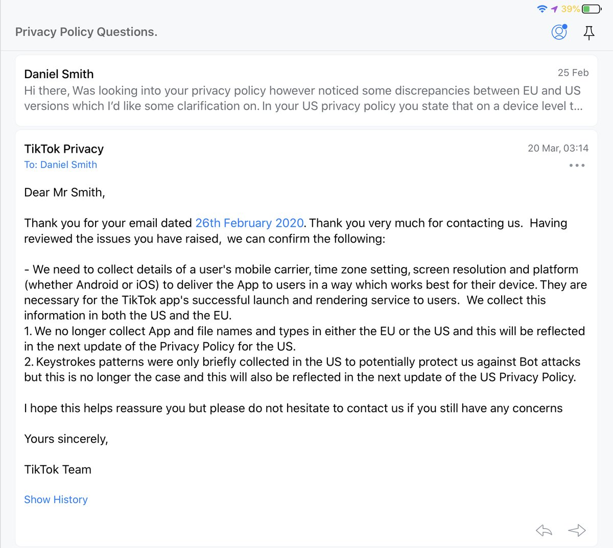 @MaxelAmador @tiktok_us Hi this is interesting because in Feb I emailed tiktok about this who said it no longer happens and they were overdue an update on their policy. Nice to know I was lied to.