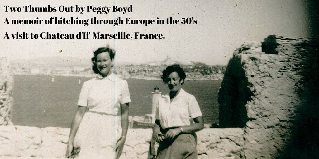 Two Thumbs Out by Peggy Boyd US:  UK:  My mother's travel #memoir. #Hitchhiking #Backpacking #Austria #Italy #France #Spain #Germany #Switzerland #Portugal #Morocco
