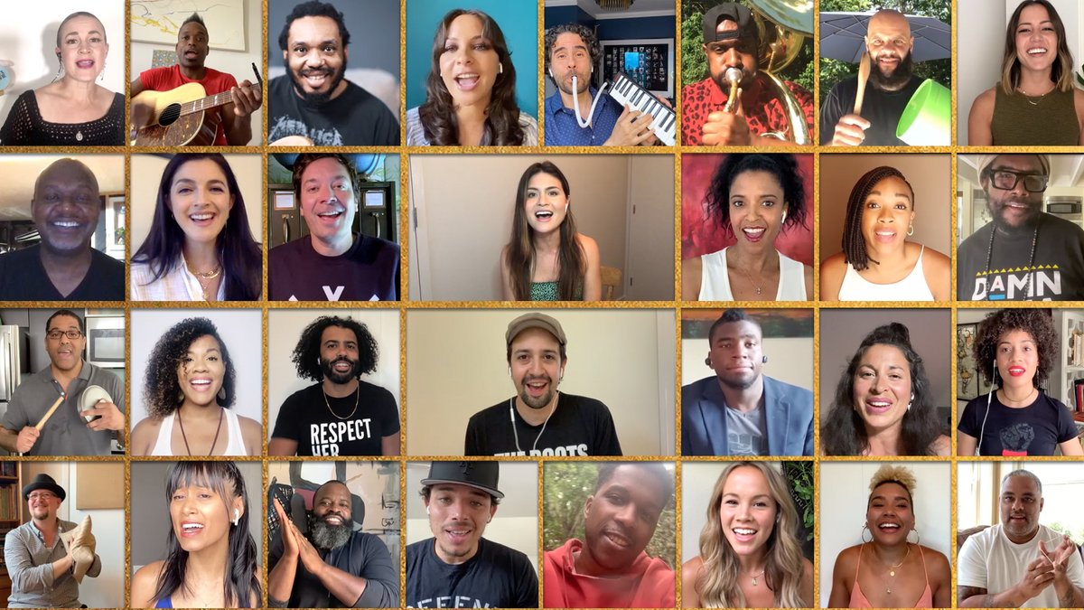 """Jimmy joins @TheRoots, @Lin_Manuel and the Original Broadway Cast of @HamiltonMusical for a performance of """"Helpless"""" using at-home instruments! Don't miss #Hamilfilm on @disneyplus July 3rd!"""