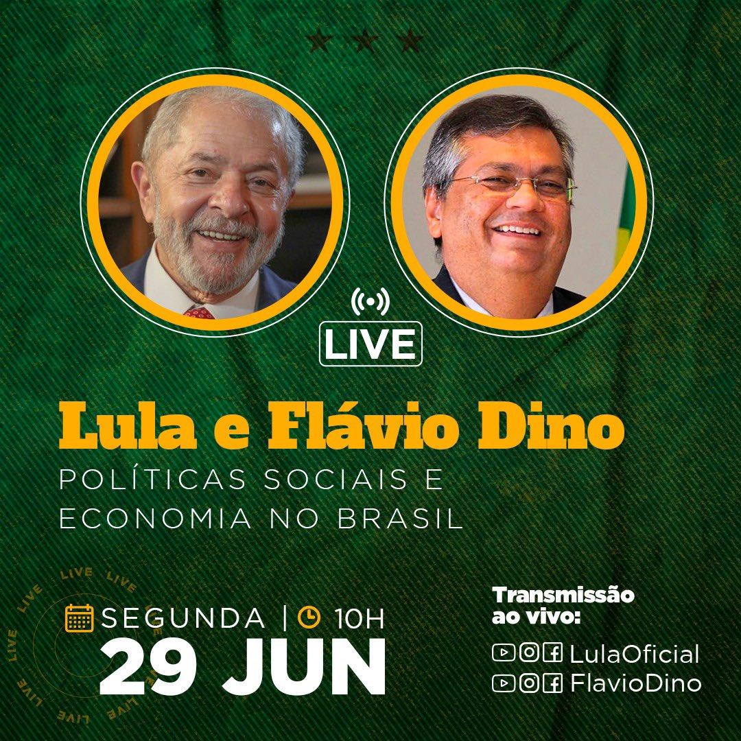 Convido a que acompanhem essa conversa que terei com o ex-presidente Lula, sobre políticas sociais e economia. Será segunda, dia 29, 10h.