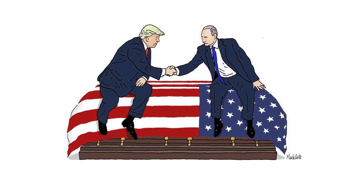 This morning I made a drawing of Trump and Putin sitting on an American coffin. Please retweet this image; I want Trump to see what treason is. @realDonaldTrump #TRE45ON #TraitorTrump #Putin #BountyGate