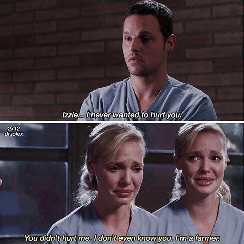 """""""Izzie, non ti volevo ferire."""" """"Non mi hai ferito. Non ti conosco nemmeno. Sono un contadino.""""  Piango tantissimo 💔"""