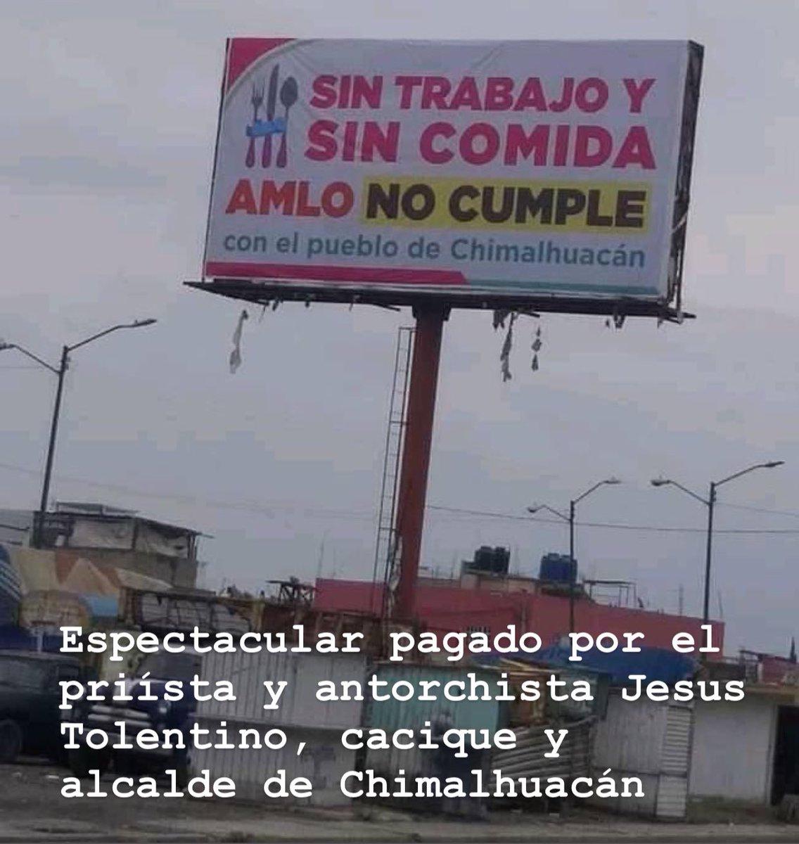 Las colonias de Chimalhuacán están en el completo abandono, pero Jesús Tolentino, alcalde antorchista de Chimalhuacán se gastó cerca de 200,000 pesos en estos espectaculares.   Urge sacar al PRI y al PAN en 2021 de los pocos reductos que aún mantienen.