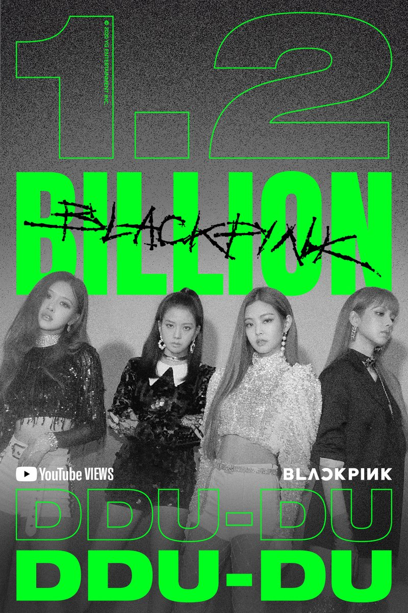#BLACKPINK '뚜두뚜두 (DDU-DU DDU-DU)' M/V HITS 1.2 BILLION VIEWS @Youtube BLINKs worldwide, thank you so much!  '뚜두뚜두 (DDU-DU DDU-DU)' M/V 🎥  #블랙핑크 #DDU_DU_DDU_DU #뚜두뚜두 #MV #1_2BILLION #YOUTUBE #YG