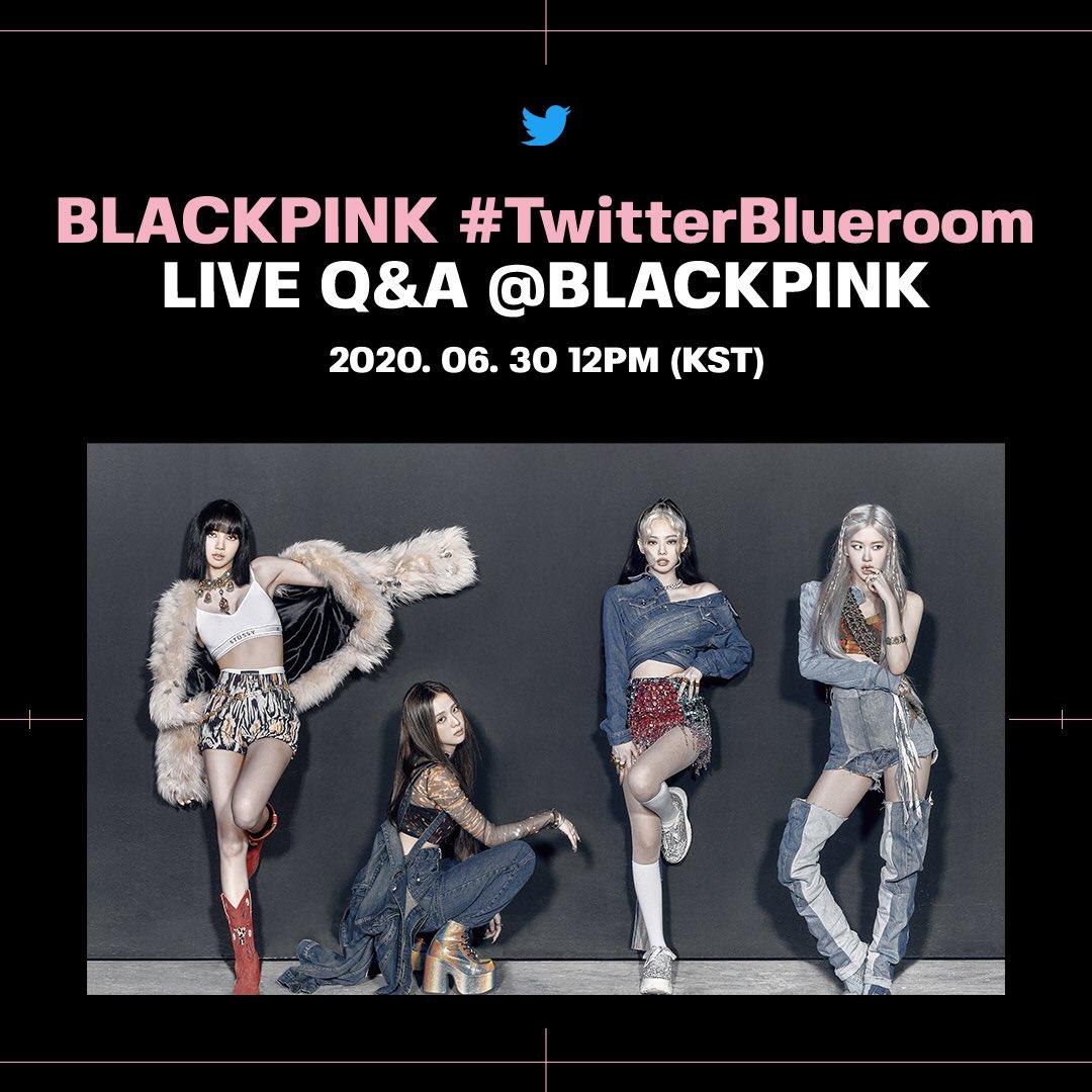 하루 앞으로 다가온 #TwitterBlueroom LIVE Q&A with #BLACKPINK 6월 30일 오후 12시 (KST) #블랙핑크 의 새로운 트위터 계정 @BLACKPINK 에서 함께해주세요! 🖤💘