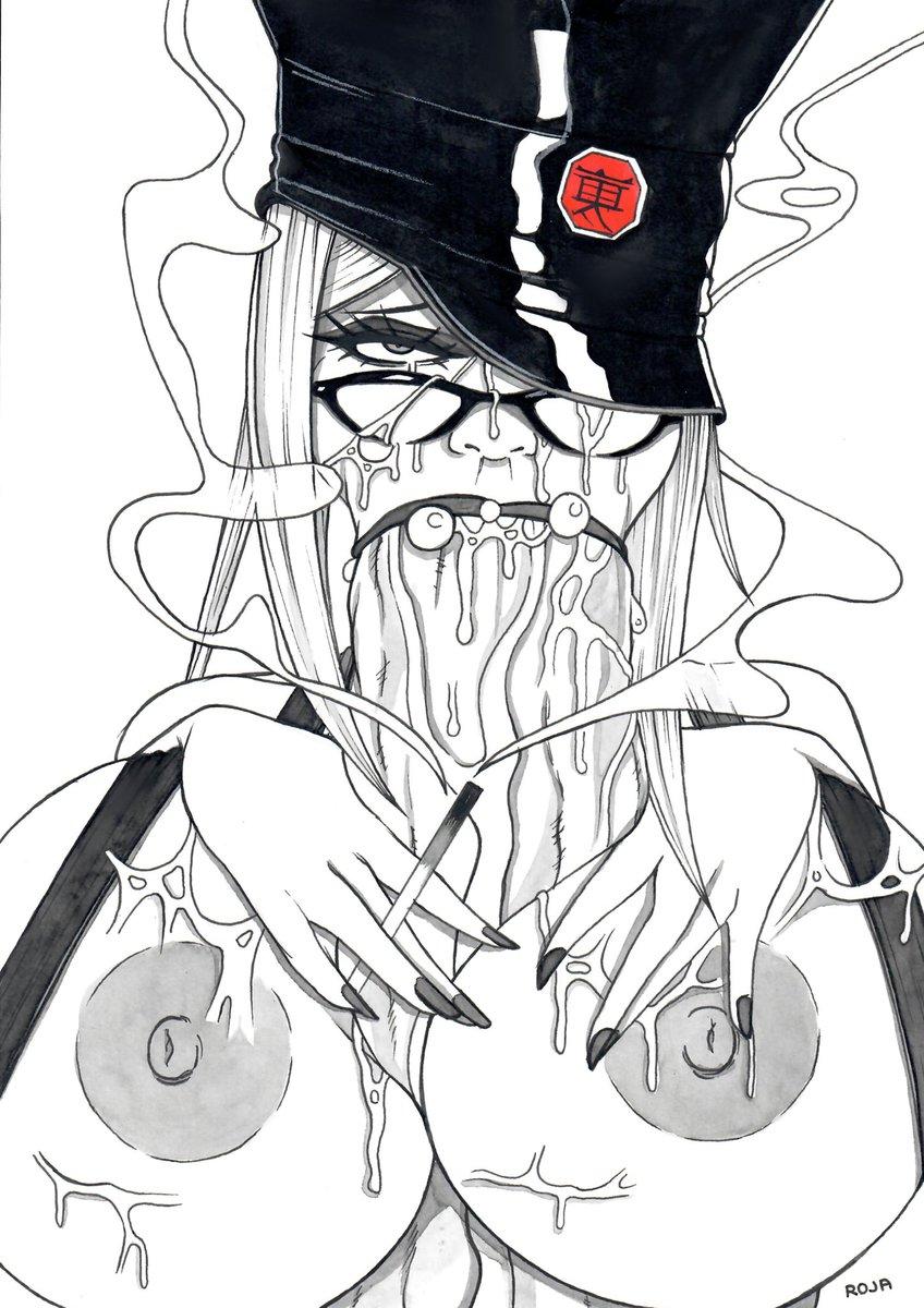 Commission.  Meiko Shiraki (Prison School) deepthroat. (+ smoke)  #PrisonSchool #MeikoShiraki #hentai #nsfwart #nsfwartist #commissionsopen #deepthroat #traditionalart #oppai
