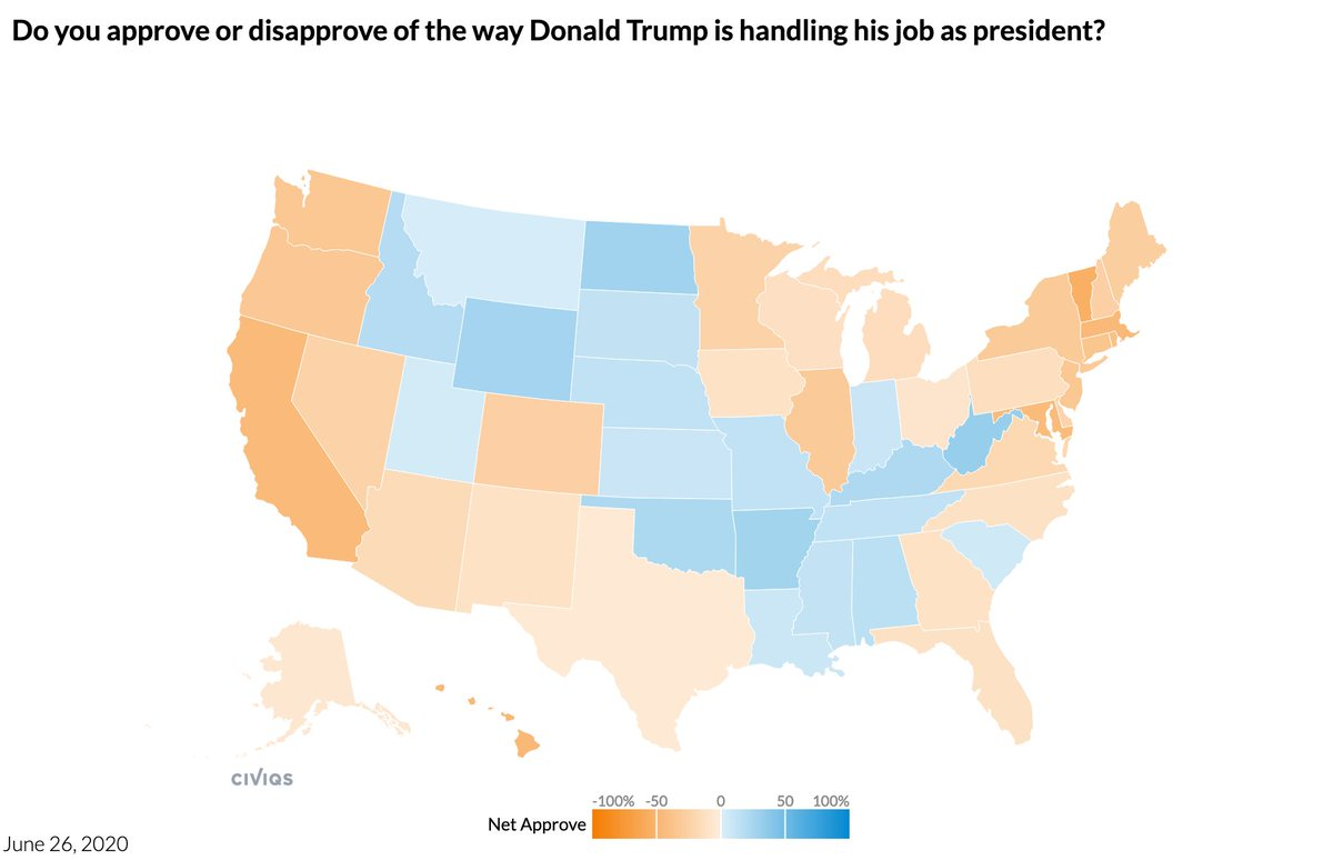 Trump job approval, 6/26/20 @Civiqs daily survey  National: 41% Approve 55% Disapprove  States, net approval: Indiana +7 Kansas +7 Louisiana +6 South Carolina +4 Utah +3 Montana +1 Texas -2 Alaska -4 Ohio -6 Iowa -9 Georgia -9 Florida -9 North Carolina -9