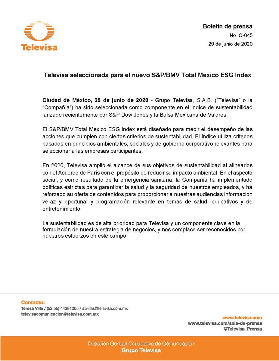 Televisa seleccionada para el nuevo S&P/BMV Total Mexico ESG Index