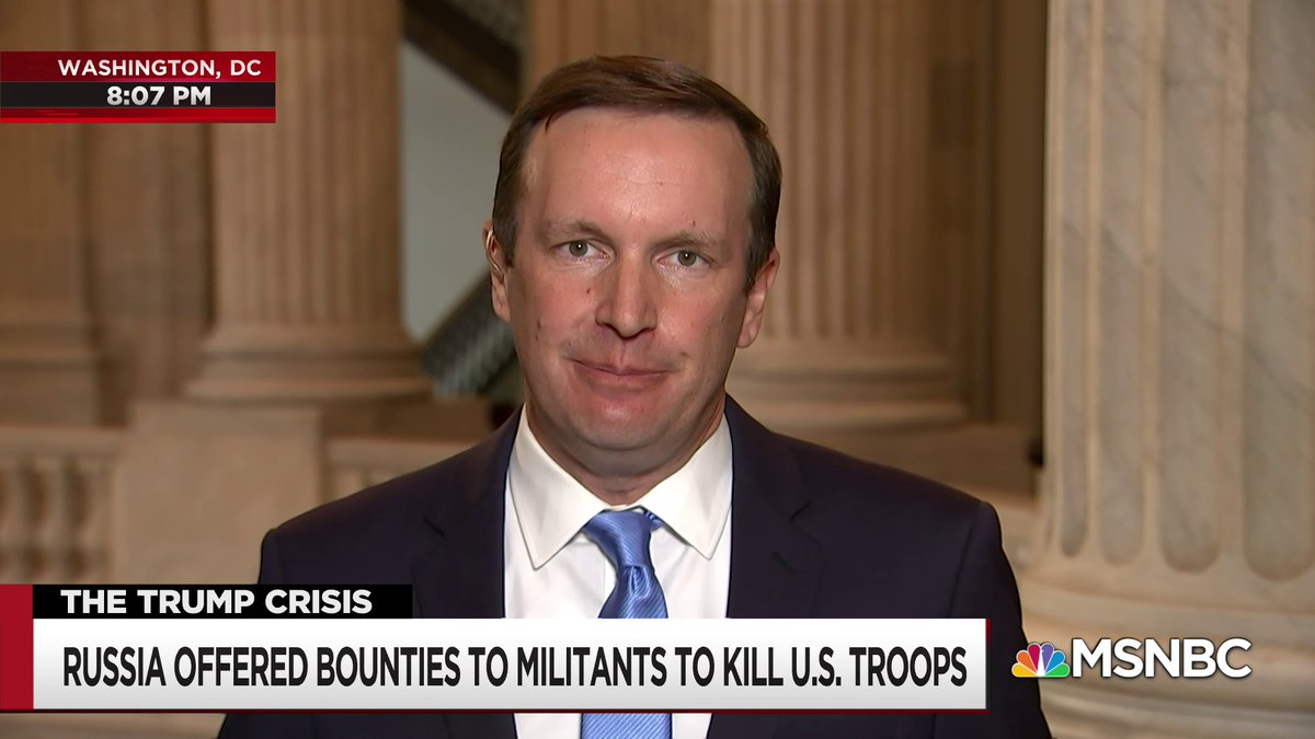 """.@ChrisMurphyCT on the White House response to Russia offering bounties for American soldiers:  """"We didn't even ask them to stop, and that does beg the question, what on earth could Russia to do us that this administration would actually take seriously?"""""""