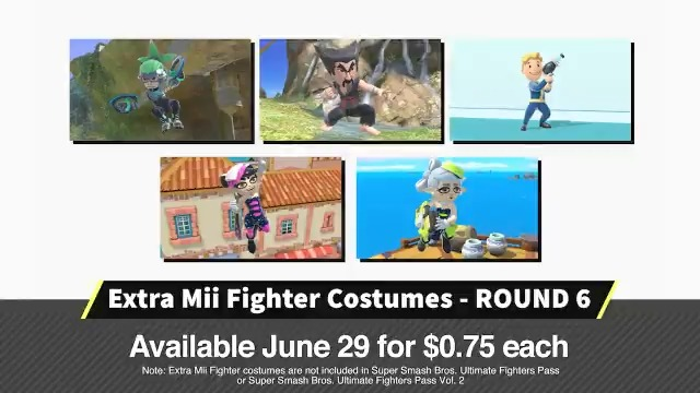 A new selection of Mii Fighter costumes are now available as paid DLC in #SmashBrosUltimate!  New costumes include Vault Boy, Ninjara, Heihachi, and Marie & Callie from the #Splatoon series!