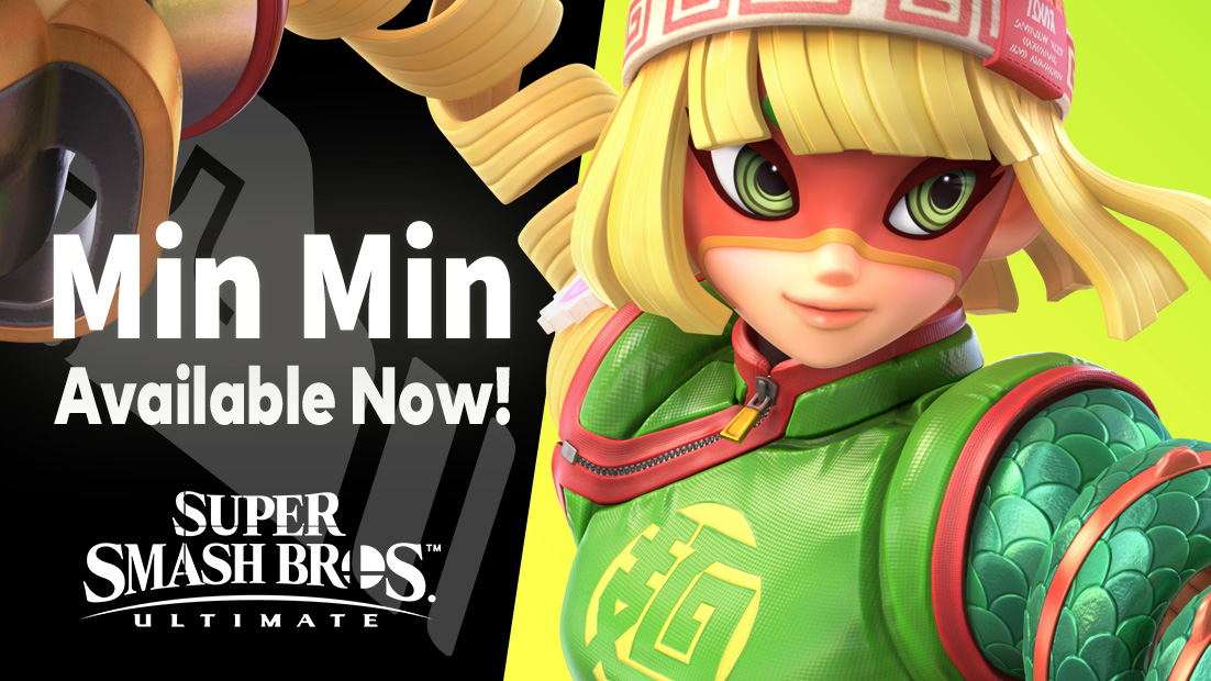 Super #SmashBrosUltimate DLC fighter 6, Min Min, is available now!  Purchase the Super Smash Bros. Ultimate Fighters Pass Vol. 2 to receive Min Min, the Spring Stadium stage, and 18 music tracks!