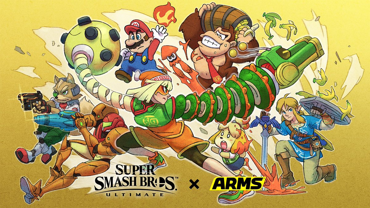 To celebrate the release of Min Min, take a look at this illustration prepared by the #ARMS development team! #SmashBrosUltimate