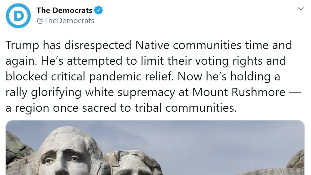 "The Democrat Party just deleted this tweet attacking Mount Rushmore and referring to a Independence Day rally as a ""white supremacist"" rally"