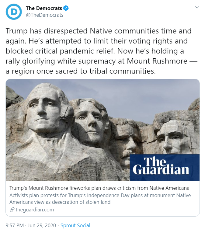 "Joe Biden's Democrat Party says Mount Rushmore and 4th of July celebrations ""glorify white supremacy.""  To stop this insanity, you have to vote on November 3rd."