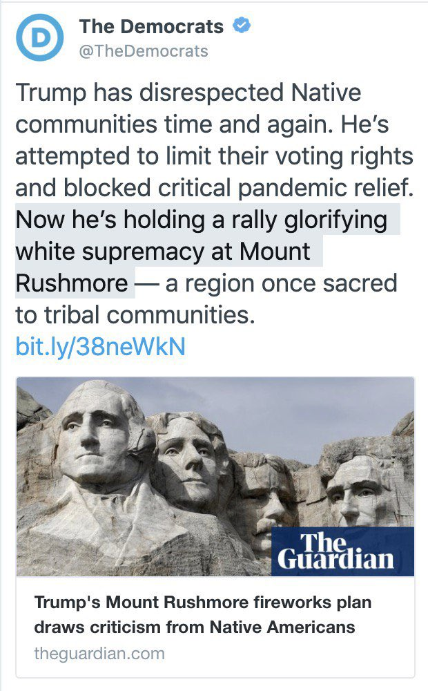 "In case you missed it last night:   The Democratic Party called celebrating the 4th of July at Mt. Rushmore ""white supremacy"""