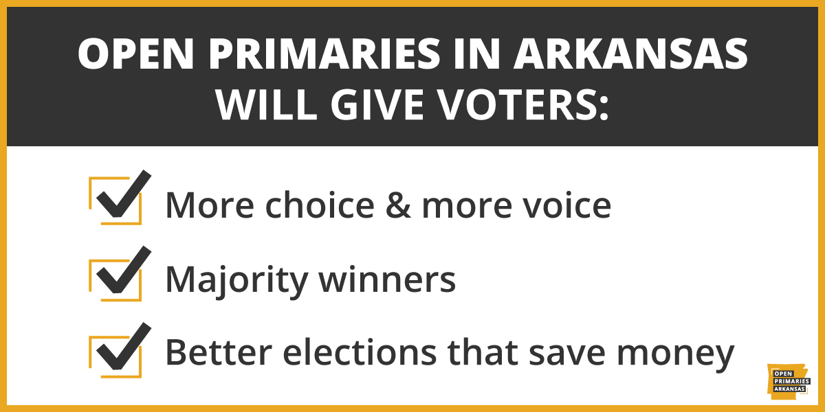 Fact: Open primaries means we could vote for any candidate running in the primary, not just one party's candidates.   We're a nonpartisan coalition fighting to bring more choice & more voice to Arkansans. Join us:
