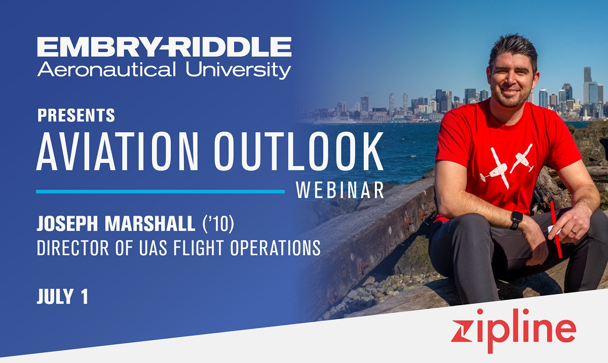Don't forget to register for this free webinar! Join us for an Aviation Outlook event with Zipline Flight Operations Director Joseph Marshall ('10) Wednesday, July 1 at 6 p.m. EDT  #GoERAU #ForeverAnEagle @josephemarshall @ERAU_Alumni