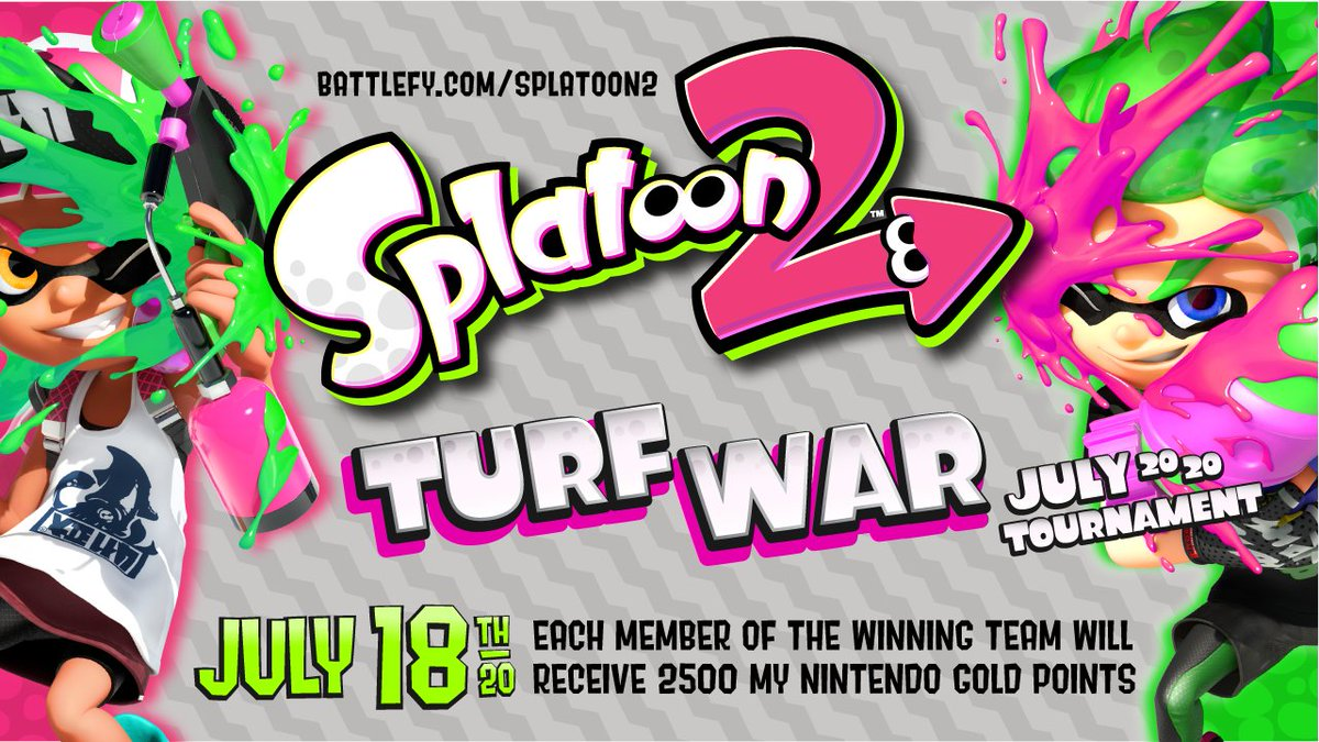 The @NintendoVS summer series of events continues with the #Splatoon2 Turf War July 2020 tournament!  Assembled a Turf War squad yet? You've got time to get some friends together and join for a chance to win 2,500 My Nintendo Gold Points.  🦑