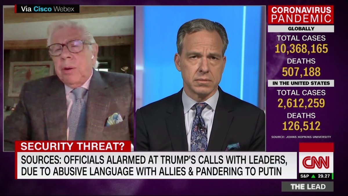 """""""Strong men like Putin and Erdogan took great advantage of an unbriefed ignorant, to use [the sources] words, President,"""" says journalist @CarlBernstein on his report that US officials are alarmed at Pres. Trump's calls with world leaders."""
