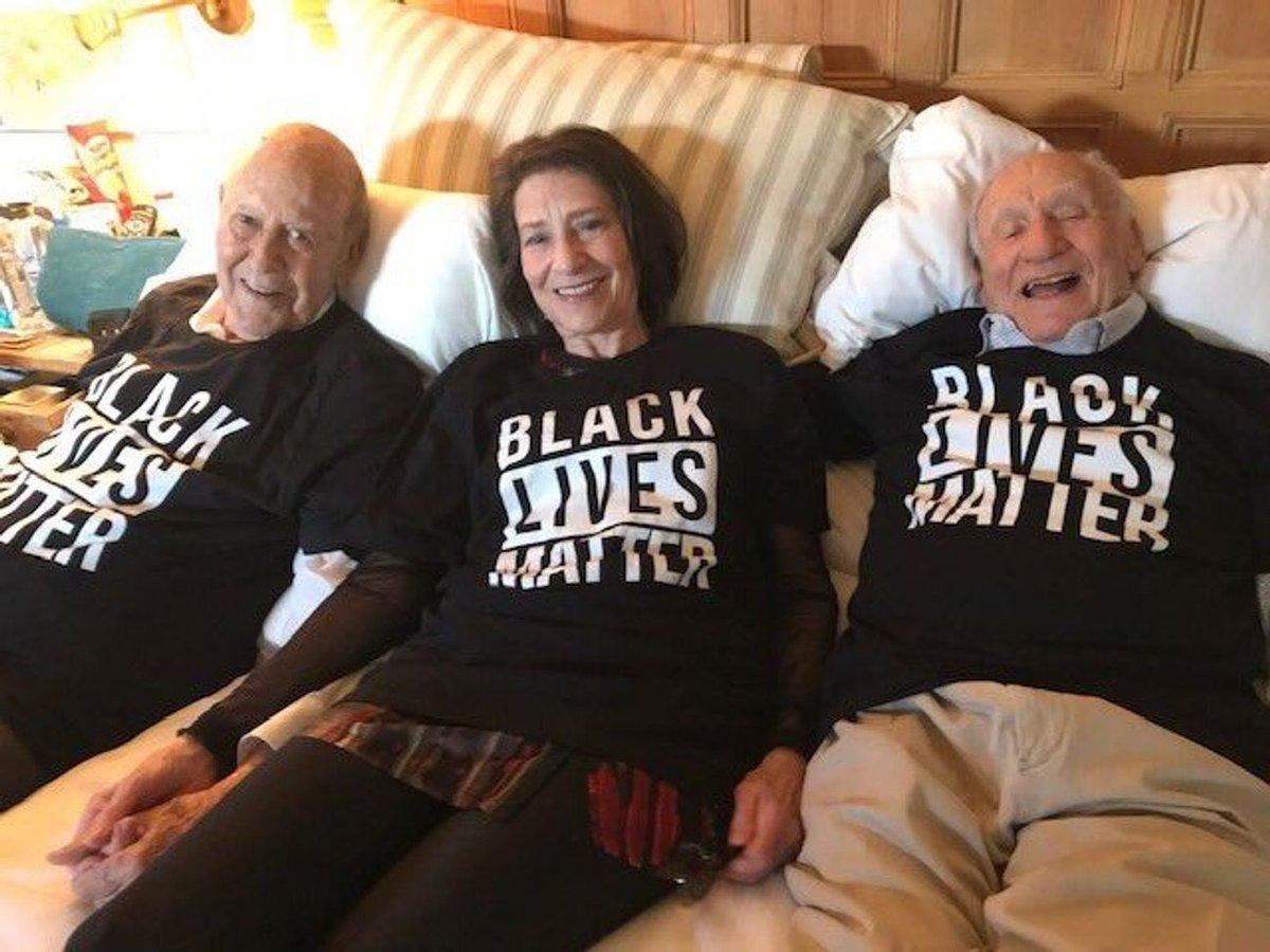 Carl Reiner, his daughter Annie, and Mel Brooks 2 days ago for Mel's birthday.