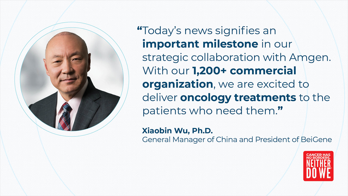 We're excited to share that @Amgen has transitioned China commercialization of the first product from our global strategic oncology collaboration. Read more: