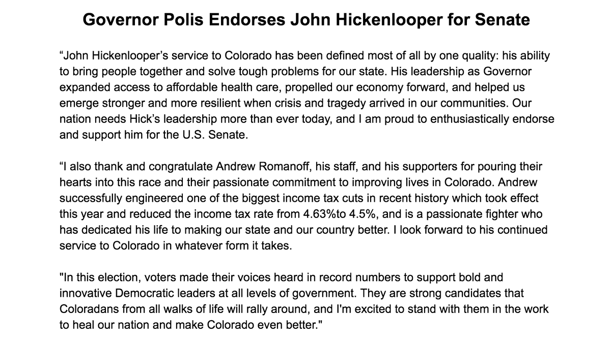 Our nation needs John @Hickenlooper's leadership more than ever today, and I am proud to enthusiastically endorse and support him for the U.S. Senate.
